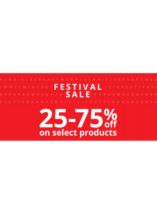 Festival Sale - 25 To 75% Off