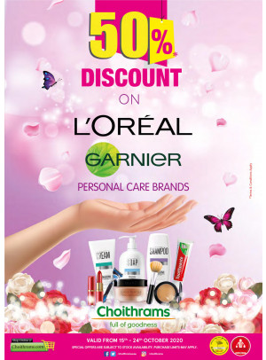50% Off on Loreal & Garnier Products