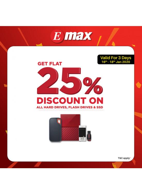 Flat 25% Off on Hard Drives, Flash Drives & SSD