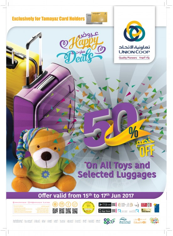 50% OFF on ALL TOYS and SELECTED LUGGAGES