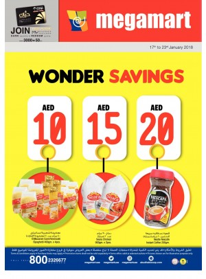 Wonder Savings 10, 15, 20 AED - Megamart Branches