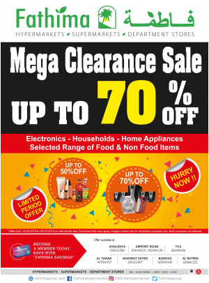 Mega Clearance Sale - Abu Dhabi and Al Yahar Branches