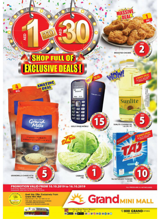 1 To 30 AED Offers - Grand Mini Mall