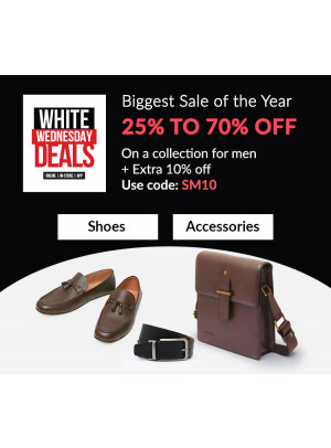 White Wednesday Deals - 25% To 70% Off