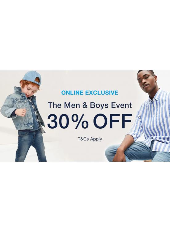 30% Off on Men & Boys Clothing