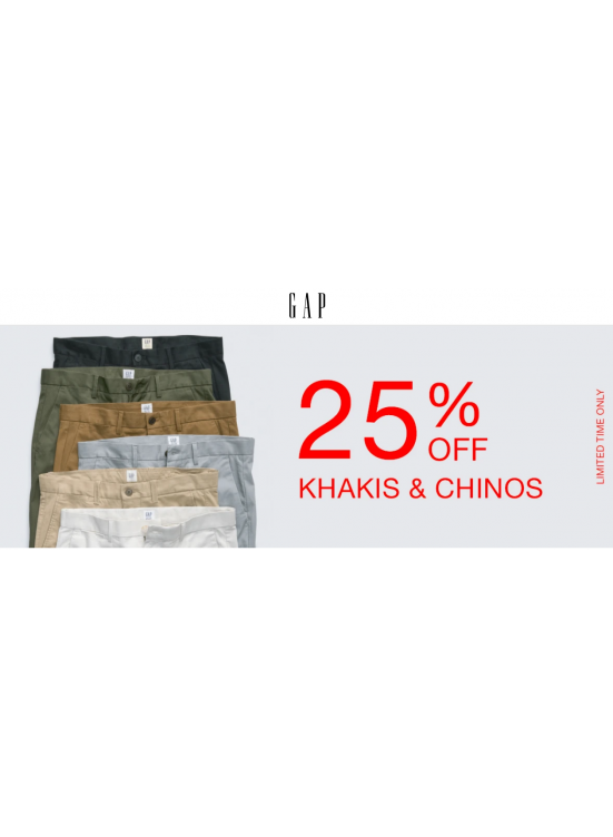 25% Off on Khakis & Chinos