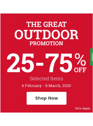 Great Outdoor Promotion - 25% To 75% Off