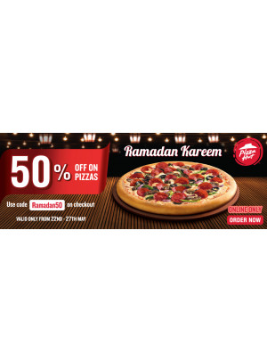 50% Off on Pizzas